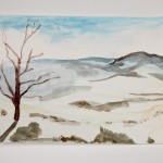 Tree with Hills, March 2011 (watercolor)